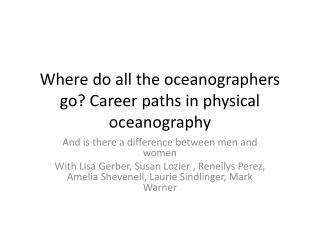 Where do all the oceanographers go? Career paths in physical oceanography