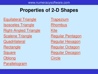 Properties of 2-D Shapes