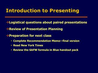 Introduction to Presentations slide show Powerpoint