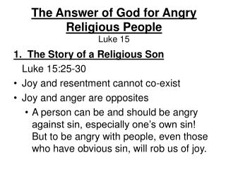 The Answer of God for Angry Religious People Luke 15