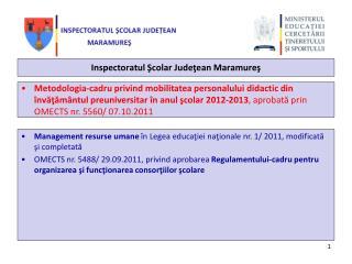Inspectoratul Şcolar  Judeţean  Maramureş