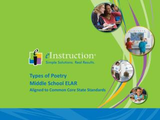 Types  of Poetry Middle School ELAR Aligned to Common Core State Standards