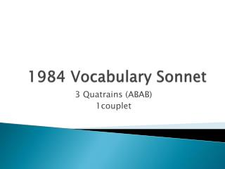 1984 Vocabulary Sonnet