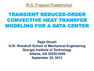TRANSIENT REDUCED-ORDER CONVECTIVE HEAT TRANSFER MODELING FOR A DATA CENTER