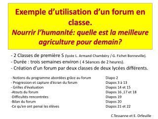 - 2 Classes de première S  (lycée L. Armand Chambéry / G. Fichet Bonneville).