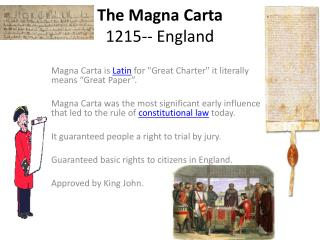 The Magna  Carta 1215-- England
