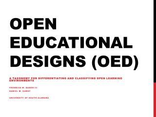 Open Educational  Designs ( OED)
