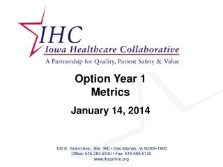 Option Year 1  Metrics January 14, 2014