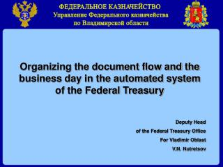 The structure of accounts opened for the Federal Treasury Office for Vladimir Oblast