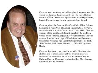 Clarence Rareshide obit for website
