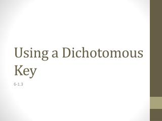 Using a Dichotomous Key