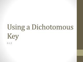 Using a Dichotomous Key