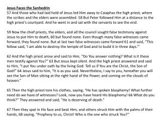 Jesus Faces the  Sanhedrin