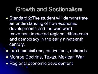 Growth and Sectionalism