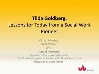 Tilda Goldberg: Lessons for Today from a Social Work Pioneer