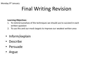 Final Writing Revision