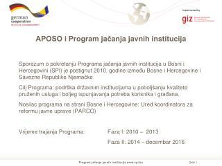 APOSO i Program jačanja javnih institucija