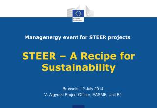 STEER  – A  Recipe for  Sustainability