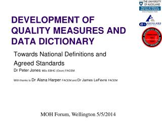 Development of  Quality  Measures and Data Dictionary