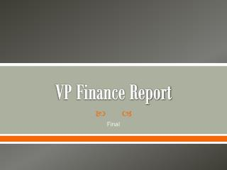 VP Finance Report