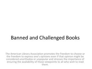 Banned and Challenged Books