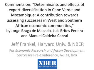 Jeff Frankel, Harvard Univ. & NBER