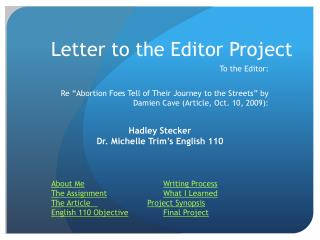 Letter to the Editor Project