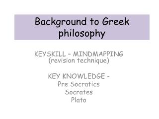 Background to Greek philosophy