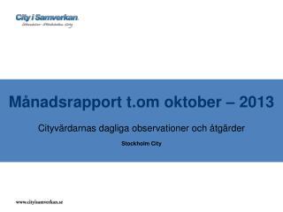 Månadsrapport  t.om oktober – 2013 Cityvärdarnas dagliga observationer och åtgärder Stockholm City