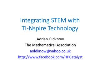 Integrating STEM with  TI-Nspire Technology