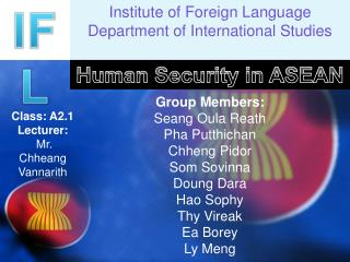 Institute of Foreign Language Department of International Studies