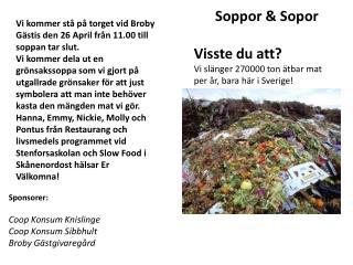 Soppor & Sopor Visste  du att? Vi  slänger 270000 ton ätbar mat per år, bara här i Sverige!