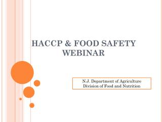 HACCP & FOOD SAFETY WEBINAR