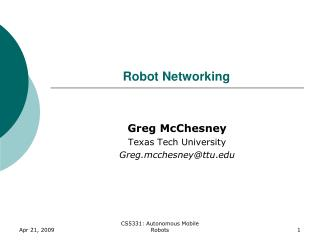 Robot Networking