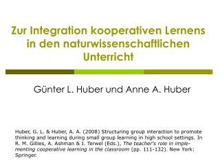 Zur Integration kooperativen Lernens  in den naturwissenschaftlichen Unterricht