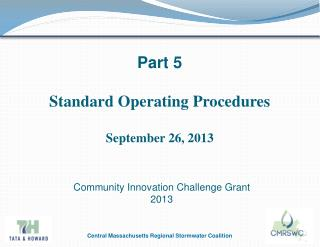 Part 5 Standard Operating  Procedures September 26, 2013