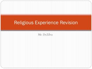 Religious Experience Revision