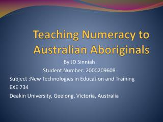Teaching Numeracy to Australian Aboriginals