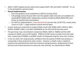 Compare NCEP's NGAC (1.0 deg)  vs  GSFC's GEOS-5 (0.25 deg)