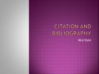 Citation and Bibliography