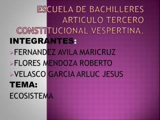 Escuela de Bachilleres  A rticulo  T ercero  C onstitucional  V espertina .
