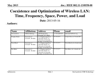 Coexistence and Optimization of Wireless LAN: Time, Frequency, Space, Power, and Load