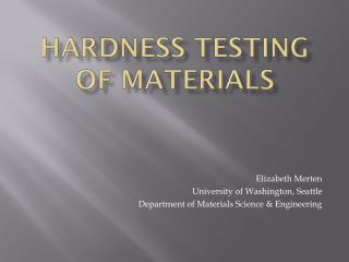 Hardness Testing of Materials