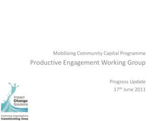 Mobilising Community Capital Programme Productive Engagement Working Group Progress Update