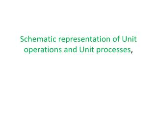 Schematic representation of Unit operations and Unit processes ,