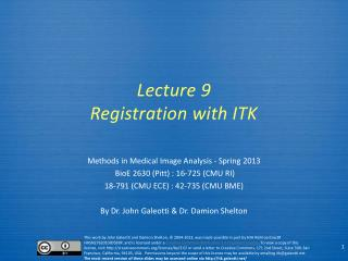 Lecture  9 Registration with ITK