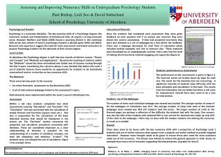 Assessing and Improving Numeracy Skills in Undergraduate Psychology Students