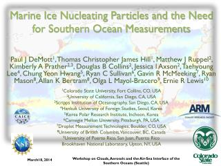 Marine Ice Nucleating Particles and the Need for Southern Ocean Measurements