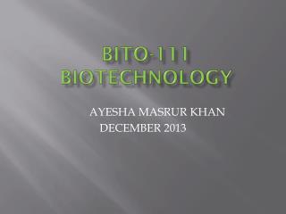 BITO-111 BIOTECHNOLOGY