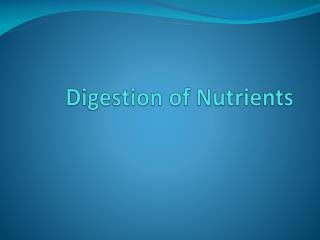 Digestion of Nutrients